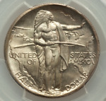 ROTATED DIE 1928 OREGON TRAIL SILVER COMMEMORATIVE PCGS MS67 1928