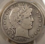 1899 S BARBER HALF DOLLAR PCGS F15 THERE IS AN OLD LIGHT PATCH OF SCRATCHES GOIN
