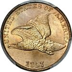 1857 1C FLYING EAGLE CENT PCGS MS66