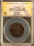 1794 LIBERTY CAP LARGE CENT HEAD OF 1795 S 67 R3 ANACS  F 12 DETAILS