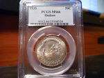 1935 MS66 HUDSON SILVER COMMEMORATIVE PCGS CERTIFIED GEM   NICE