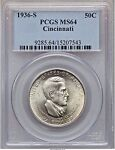 1936 S CINCINNATTI MUSIC CTR  PCGS MS64 NICER IN 20 YEAR OLD CASE  S MINT