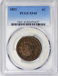 1853 BRAIDED HAIR LARGE CENT    PCGS XF45 17 0200