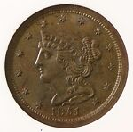 1851 ANACS MS61 BRN HALF CENT   SERIOUSLY UNDER GRADED
