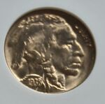 STUNNING 1938 D BUFFALO NICKEL 5C COIN ANACS MS 65 OLD HOLDER GOLD TONED