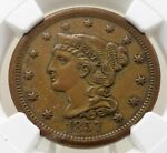 SMALL DATE 1857 BRAIDED HAIR LIBERTY LARGE CENT NGC GRADED AU58 BN 4689115 007