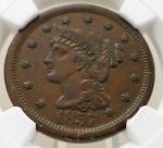 LARGE DATE 1857 BRAIDED HAIR LIBERTY LARGE CENT NGC GRADED AU55 BN 4689115 009
