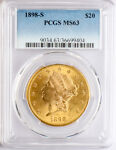 1898 S $20.00 LIBERTY PCGS MS 63. DOUBLE EAGLE GOLD COIN. BELOW BID