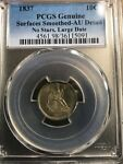 1837 LIBERTY SEATED DIME LARGE DATE NO STARS PCGS AU DETAILS