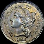 TONED 1865 3 CENT NICKEL OLD ANACS MS60