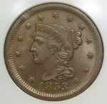 1853 LARGE CENT NGC MS 65 BROWN CLIPPED PLANCHET