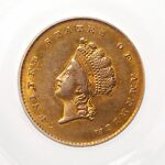 1854 INDIAN PRINCESS $1 PCGS CERTIFIED AU 55 TYPE 2 GRADED US MINT DOLLAR GOLD