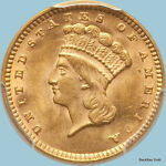 1874 G$1 GOLD DOLLAR  TYPE 3 INDIAN PRINCESS LARGE HEAD   PCGS MS64