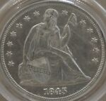 1845 SEATED LIBERTY DOLLAR PCGS MS 61  OGH