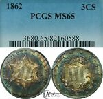 1862 THREE CENT SILVER PIECE PCGS MS65 RAINBOW TONED  OLD TYPE COIN 3 CENTS