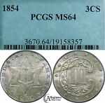 1854 3CS THREE CENT SILVER PCGS MS64  OLD TYPE COIN 3C MONEY LUSTER