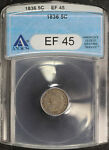 1836 CAPPED BUST SILVER HALF DIME ANACS EF 45  144282