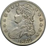 1832 CAPPED BUST HALF DOLLAR   PCGS AU55   O 120A R3   NEAT OBVERSE DIE CRACKS