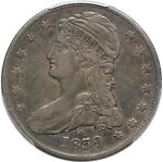 1839 O CAPPED BUST REEDED EDGE HALF DOLLAR   PCGS VF35   RETAINED CUD