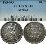 1854 O ARROWS 10C SEATED LIBERTY DIME PCGS XF40  OLD TYPE COIN