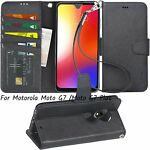 For Motorola Moto G7 /Moto G7 Plus Case PU Leather Wallet Stand Cover Black Hard