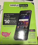 NEW Simple Mobile ZFIVE G Z557BL 4G LTE 16GB Memory Android Cell Phone Black