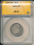 1835 CAPPED BUST SILVER QUARTER   ANACS CERTIFIED  GOOD 8