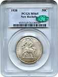 1938 NEW ROCHELLE 50C PCGS/CAC MS65   LOW MINTAGE ISSUE   LOW MINTAGE ISSUE