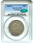 1866 S 50C PCGS/CAC VF30  NO MOTTO   DATE   LIBERTY SEATED HALF DOLLAR