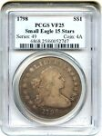 1798 SMALL EAGLE $1 PCGS VF25  15 STARS OBVERSE  NICE SOLID VF   NICE SOLID VF