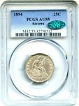 1854 25C PCGS/CAC AU55 ARROWS POPULAR TYPE COIN   LIBERTY SEATED QUARTER