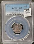 1874 SEATED LIBERTY DIME.  ARROWS.  IN PCGS HOLDER.  PR63   E409