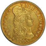 1795 $5 SMALL EAGLE DRAPED BUST HALF EAGLE PCGS AU53