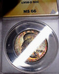 FABULOUS  1958 D ANACS MS66 FRANKLIN SILVER HALF DOLLAR  COLORFUL PARTY TONED