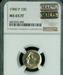 1980 P ROOSEVELT DIME NGC MAC MS65 FT PQ ONLY KNOWN SOLO FINEST SPOTLESS