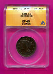 1851 BRAIDED HAIR LARGE CENT GRADED EF 45 ANACS CORONET BEAUTIFUL COIN