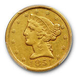 1851 C $5 LIBERTY HEAD HALF EAGLE PCGS VF 30 CHARLOTTE MINT GOLD TOUGH