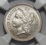 1880 NGC PF62 THREE CENT NICKEL