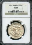 1924 50C MS 65 NGC HUGUENOT BU MINT STATE UNCIRCULATED COMMEMORATIVE HALF DOLLAR