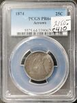 1874 SEATED LIBERTY QUARTER.  ARROWS.  IN PCGS HOLDER.  PR64   E410
