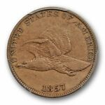 1857 1C FLYING EAGLE CENT PCGS XF 40 EXTRA FINE ORIGINAL US TYPE COIN