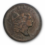 1797 1/2C  LIBERTY CAP HALF CENT PCGS VF 30 FACING RIGHT SMALL HEAD PLAIN EDGE