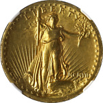1907 SAINT GAUDENS GOLD $20 HIGH RELIEF WIRE RIM NGC MS60 KEY DATE SPOT FREE
