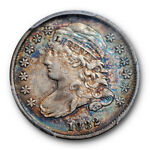 1832 10C CAPPED BUST DIME PCGS AU 53 ABOUT UNCIRCULATED RAINBOW TONED BEAUTY