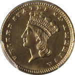 1885 TYPE 3 INDIAN PRINCESS GOLD $1 PCGS MS62 GREAT EYE APPEAL FANTASTIC LUSTER