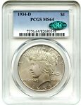 1934 D $1 PCGS/CAC MS64   PEACE SILVER DOLLAR