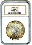1922 $1 NGC MS65   PRETTY OBVERSE TONING   PEACE SILVER DOLLAR