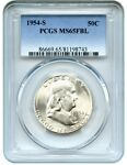1954 S 50C PCGS MS65 FBL   BLAZING WHITE   FRANKLIN HALF DOLLAR   BLAZING WHITE