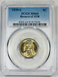 1939 S PCGS MS 64 UNITED STATES JEFFERSON NICKEL   REVERSE OF 1938