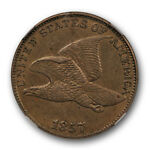 1857 FLYING EAGLE CENT CLASHED WITH 50C 1C NGC AU DETAILS ABOUT UNCIRCULATED